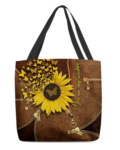 You Are My Sunshine Sunflower Butterfly Leather Zipper tote bag 1