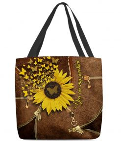 You Are My Sunshine Sunflower Butterfly Leather Zipper tote bag 2