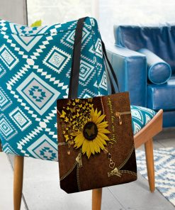 You Are My Sunshine Sunflower Butterfly Leather Zipper tote bag 3
