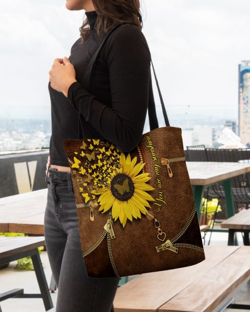 You Are My Sunshine Sunflower Butterfly Leather Zipper tote bag 4