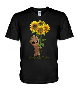 You are my sunshine Baby Groot Sunflower v-neck