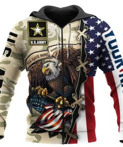 All gave some some gave all US Army Eagle American Flag personalized 3D hoodie1