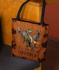 Autism Dinosaur It's ok to be different tote bag 1