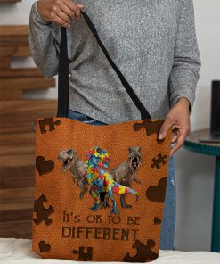 Autism Dinosaur It's ok to be different tote bag 2