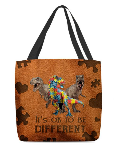 Autism Dinosaur It's ok to be different tote bag