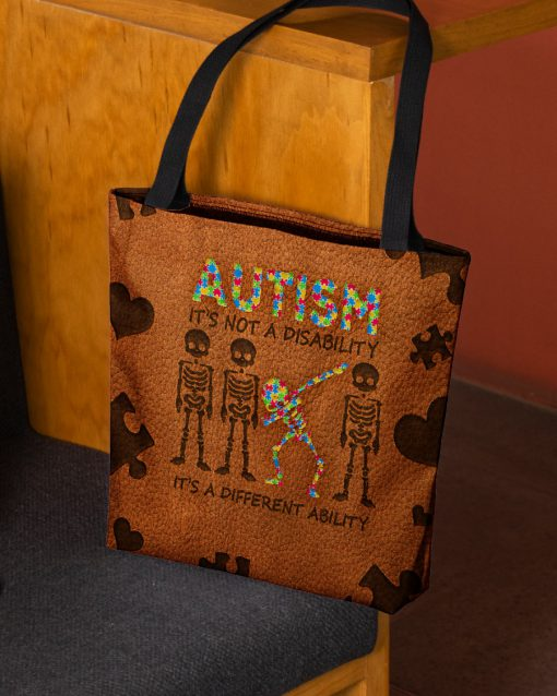 Autism It's not a disability it's a different ability tote bag 1