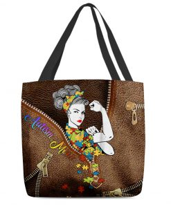Autism Mom as leather zipper tote bag 2