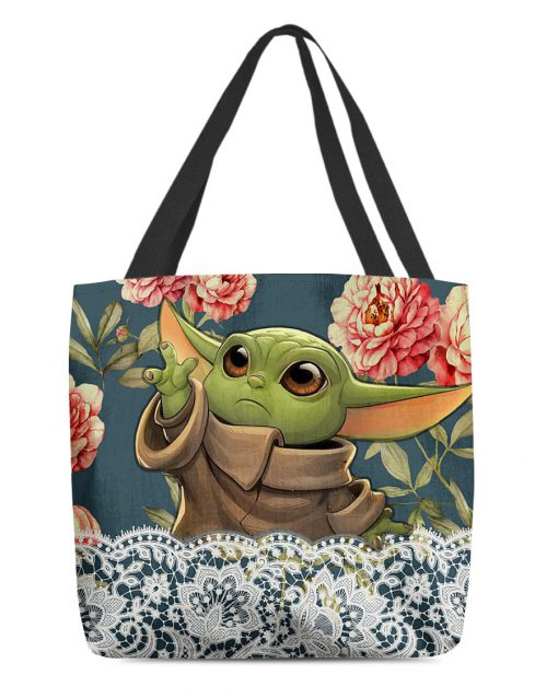 Baby Yoda Flowers 3D All Over Print Tote Bag 1