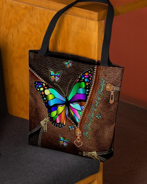 Be Your Own Kind of Beautiful Butterfly as leather zipper tote bag 2