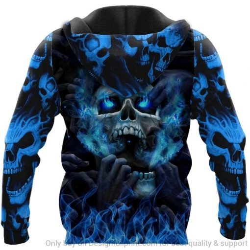 Blue Eyes Screaming Skull 3D All Over Print Hoodie 1