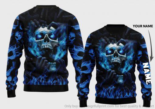 Blue Eyes Screaming Skull 3D All Over Print Hoodie 11