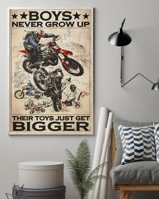 Boys never grow up Their toys just get bigger Motorcycle poster1