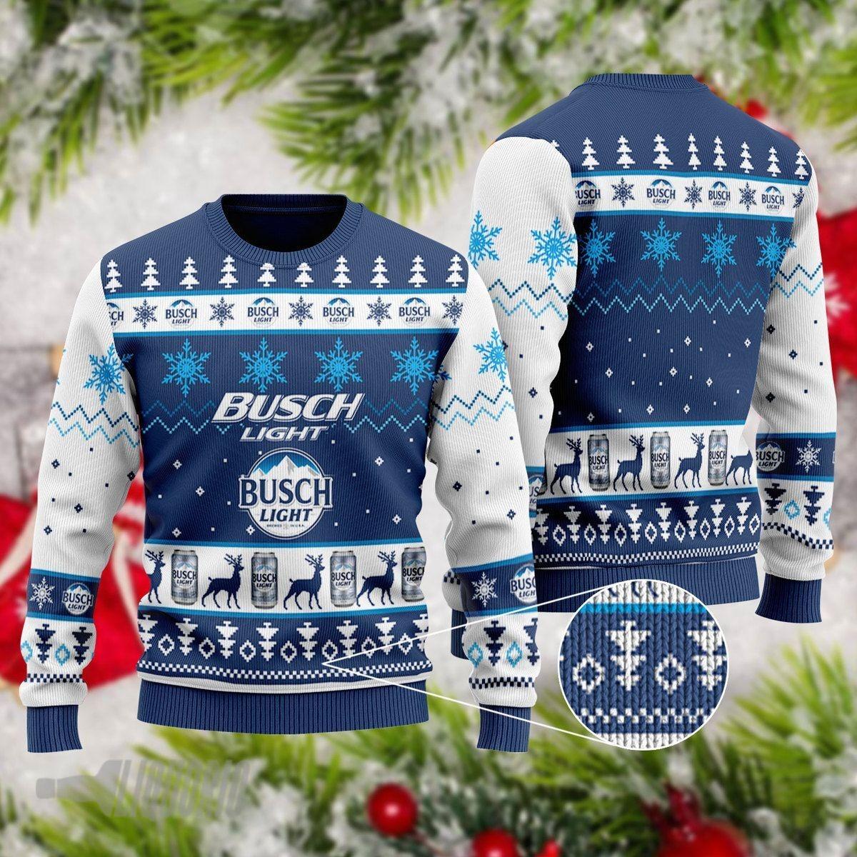Busch Light Beer 3D Ugly Christmas Sweater