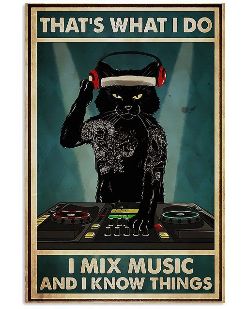 Cat That's What I Do I Mix Music And I Know Things Poster 1