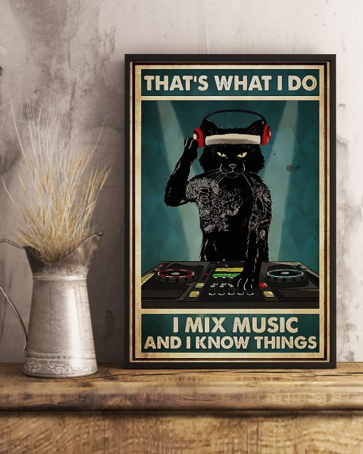 Cat That's What I Do I Mix Music And I Know Things Poster 3