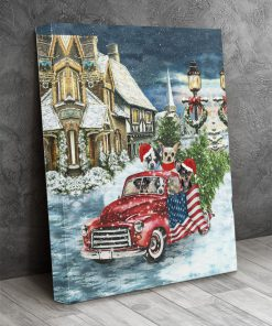 Chihuahua Red Truck Christmas gallery wrapped canvas 2