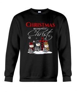 Christmas Begins With Christ Faith Hope Love Snowman Sweatshirt