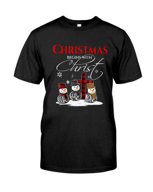 Christmas Begins With Christ Faith Hope Love Snowman T-shirt
