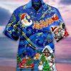 Christmas Sky Santa Claus Reindeer Hawaiian Shirt