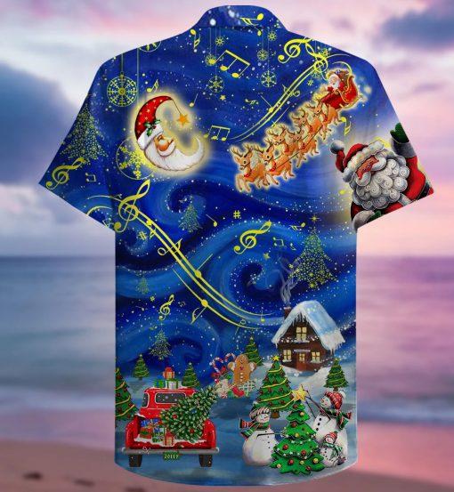 Christmas Sky Santa Claus Reindeer Hawaiian Shirt1