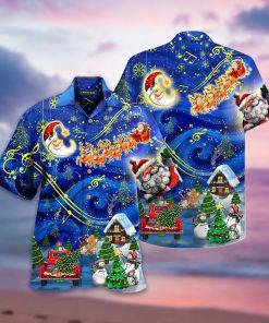 Christmas Sky Santa Claus Reindeer Hawaiian Shirt3
