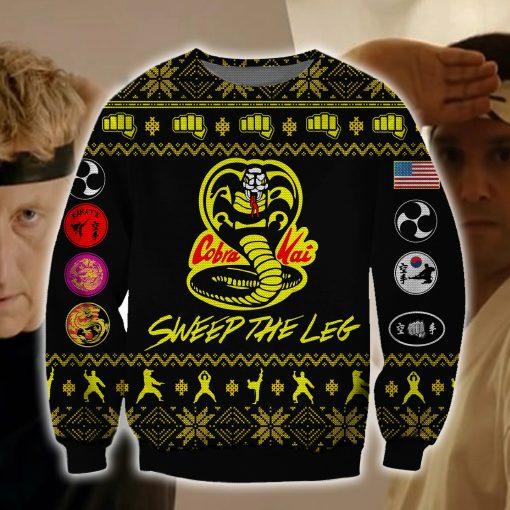 Cobra Kai Sweep The Leg 3D Ugly Christmas Sweater