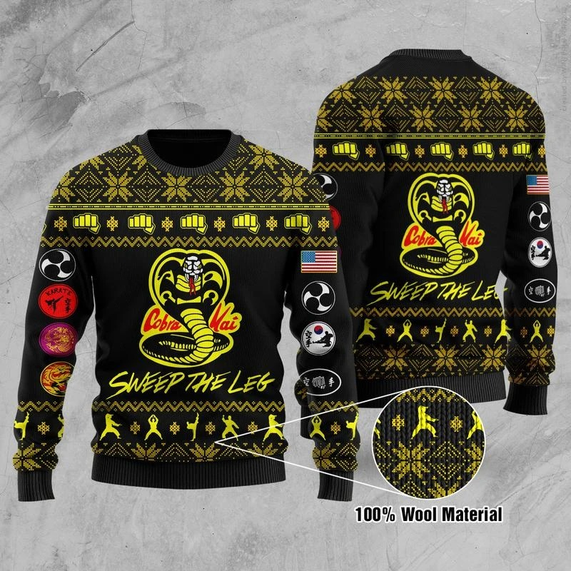 Cobra Kai Sweep The Leg 3D Ugly Christmas Sweater1