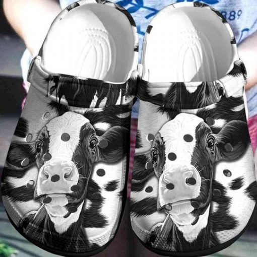 Cow black and white Crocs Crocband Clog