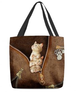 Cute Cats as leather zipper tote bag 2