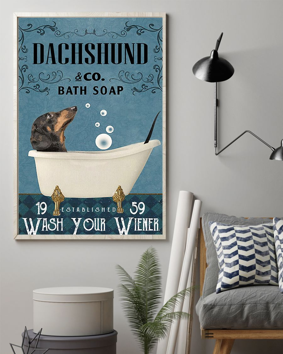 Dachshund Bath Soap Company Wash Your Paws Poster 2