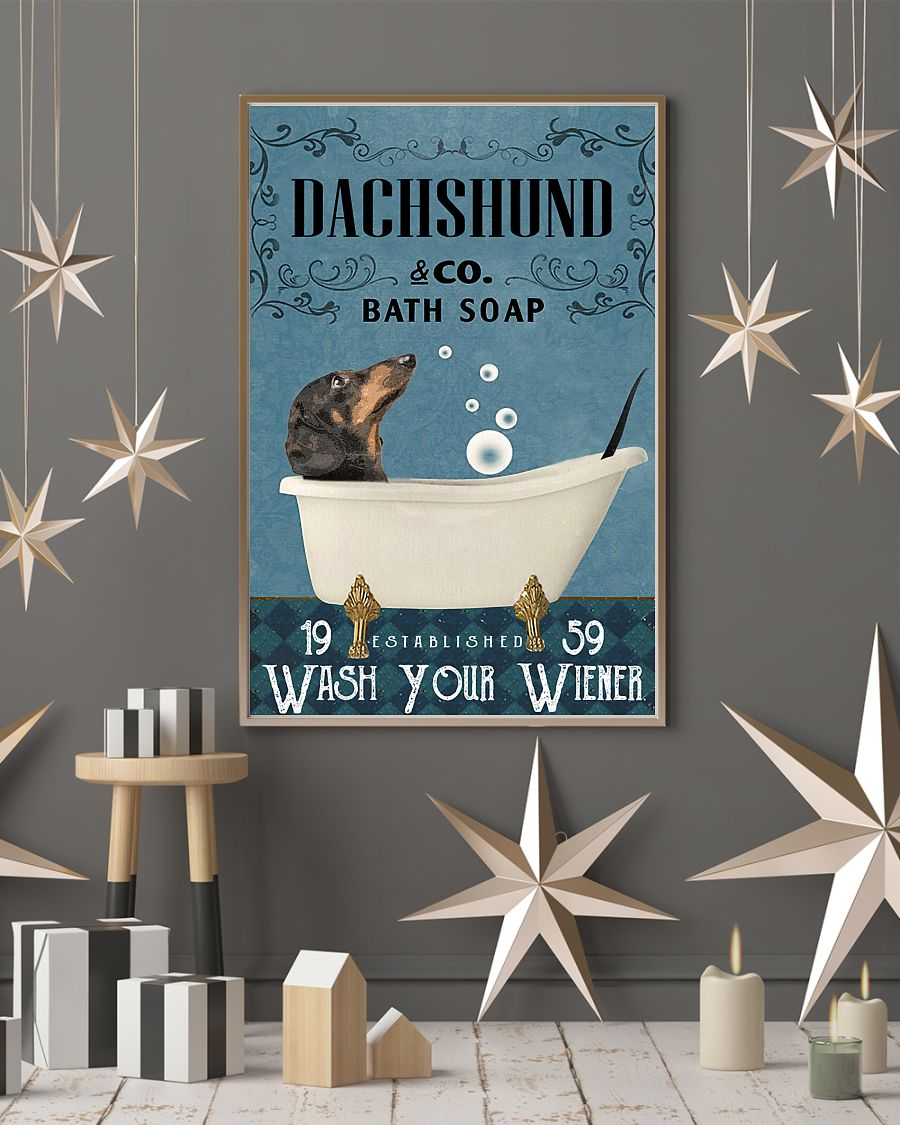 Dachshund Bath Soap Company Wash Your Paws Poster 4