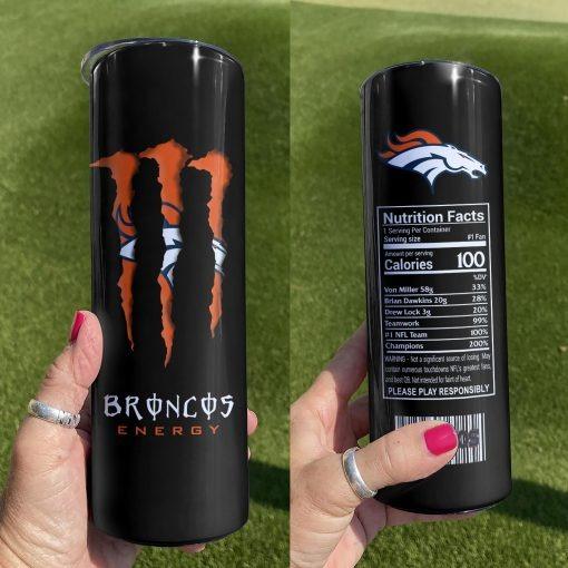 Denver Broncos Monster Energy Skinny Tumbler 0