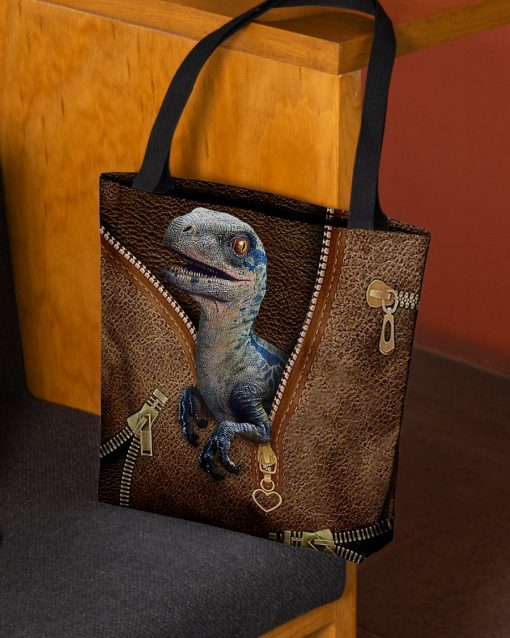 Dinosaur as leather zipper tote bag 1