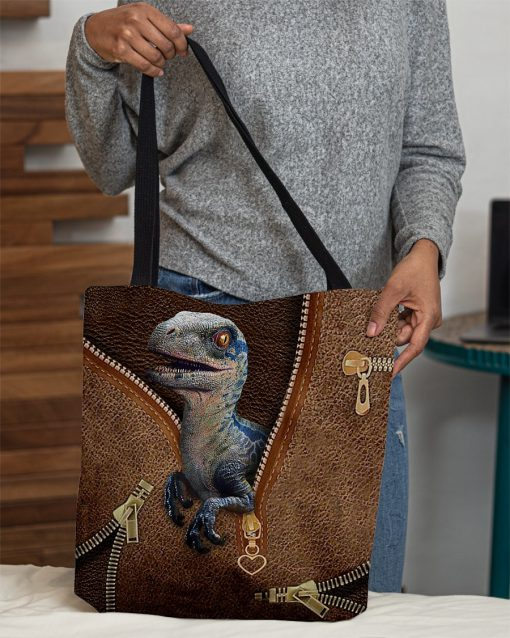 Dinosaur as leather zipper tote bag