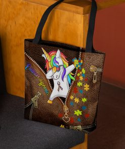 Embrace differences Unicorn Autism as leather zipper tote bag 2