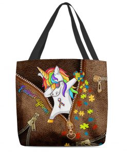 Embrace differences Unicorn Autism as leather zipper tote bag