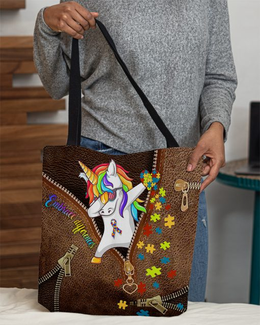 Embrace differences Unicorn Autism as leather zipper tote bag 3