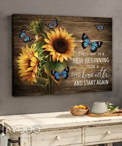 Everyday is a new beginning take a deep breath smile and start again Sunflower gallery wrapped canvas 1