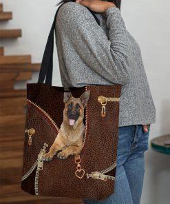 German Shepherd as leather zipper tote bag 4
