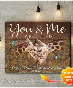 Giraffe You And Me We Got This personalized canvas 1