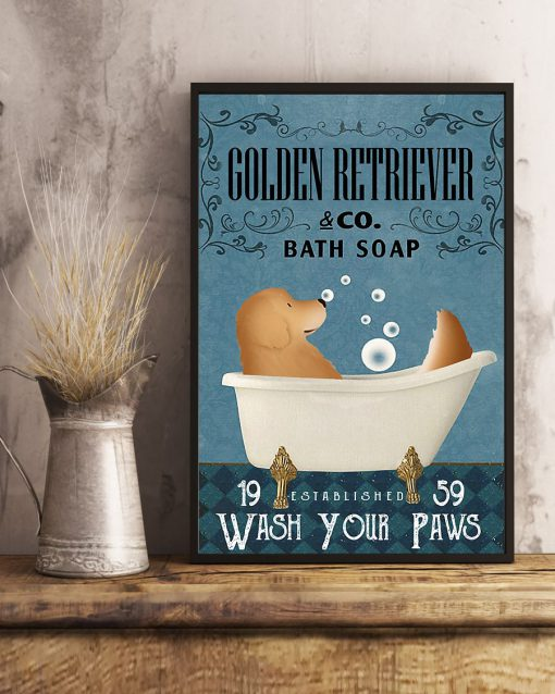Golden Retriever Bath Soap Company Wash Your Paws Poster 3