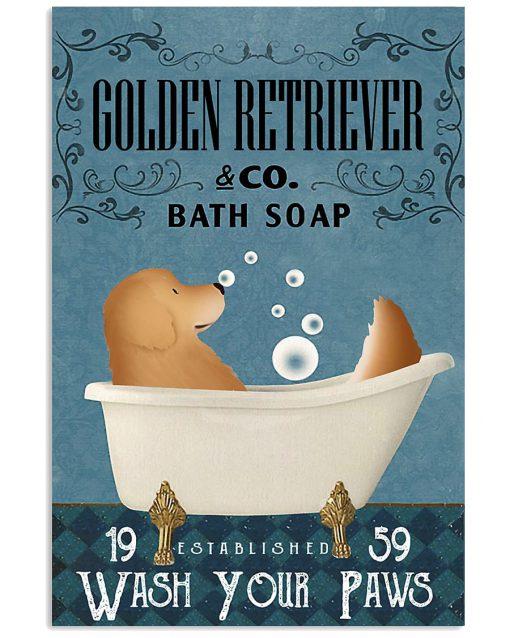 Golden Retriever Bath Soap Company Wash Your Paws Poster