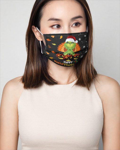 Grinch Happy Hallothanksmas face mask 2