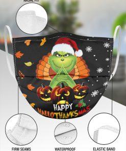 Grinch Happy Hallothanksmas face mask 4
