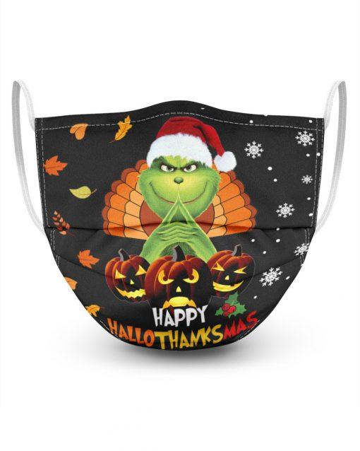 Grinch Happy Hallothanksmas face mask