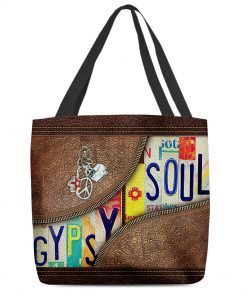 Gypsy Soul as leather zipper tote bag 1
