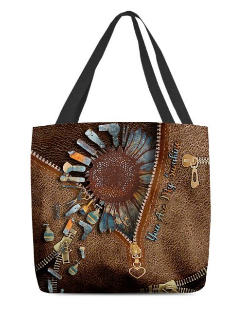 Hairdresser You are my sunshine as leather zipper tote bag 1
