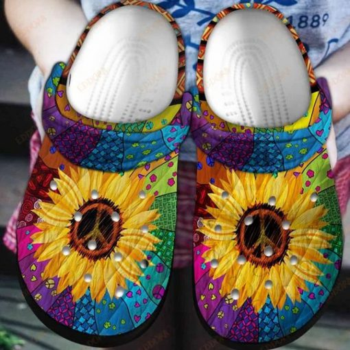 Hippie sunflower Crocs Crocband Clog 1