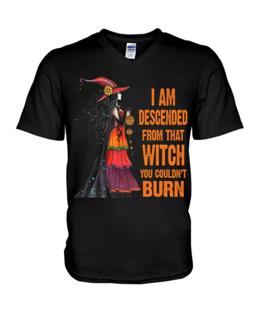 I am descended from that witch you couldn't burn v-neck