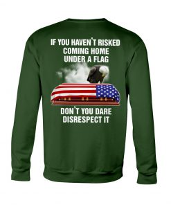 If you haven't risked coming home under a flag Don't you dare disrespect it Veteran Eagle American Flag Sweatshirt
